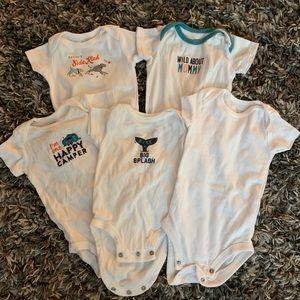 Carters short sleeve onesie bundle of 5, 0-3 month